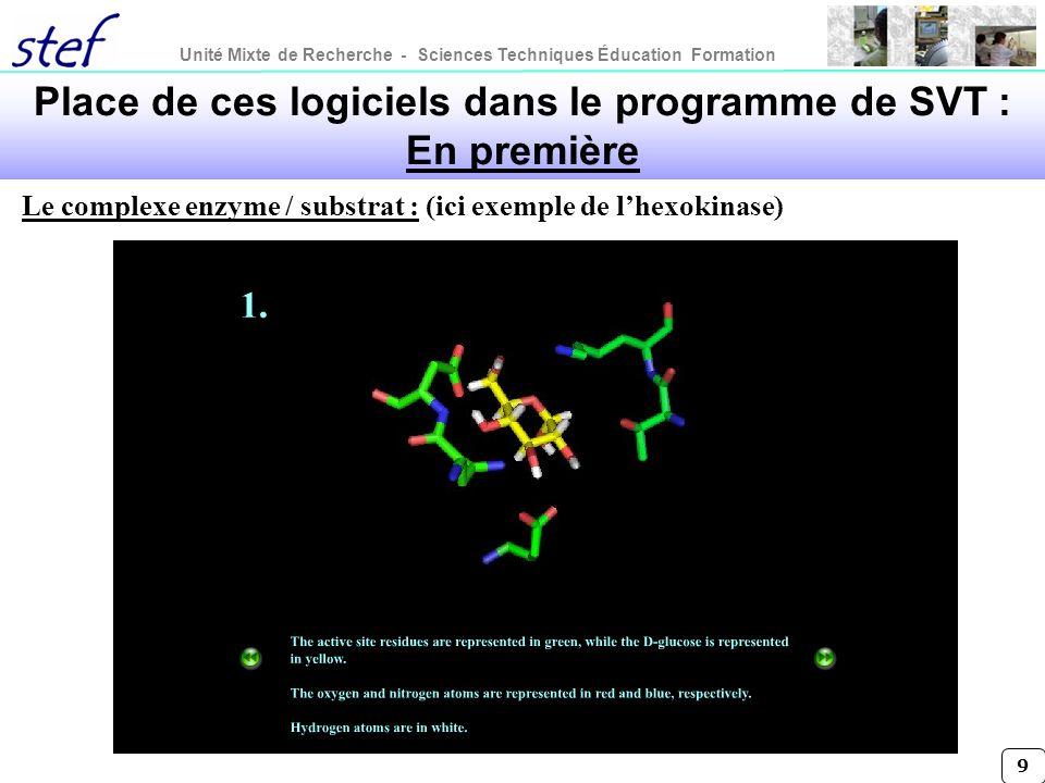 Unité Mixte de Recherche - Sciences Techniques Éducation Formation 9 Le complexe enzyme / substrat : (ici exemple de lhexokinase) Place de ces logicie