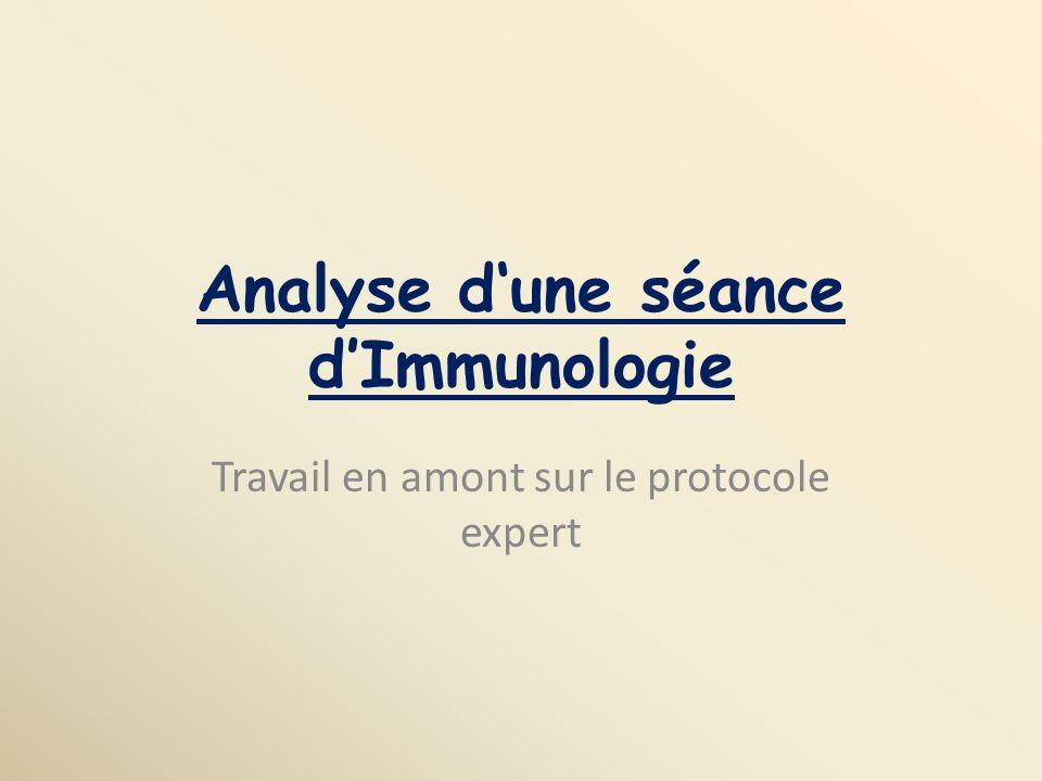 Analyse dune séance dImmunologie Travail en amont sur le protocole expert