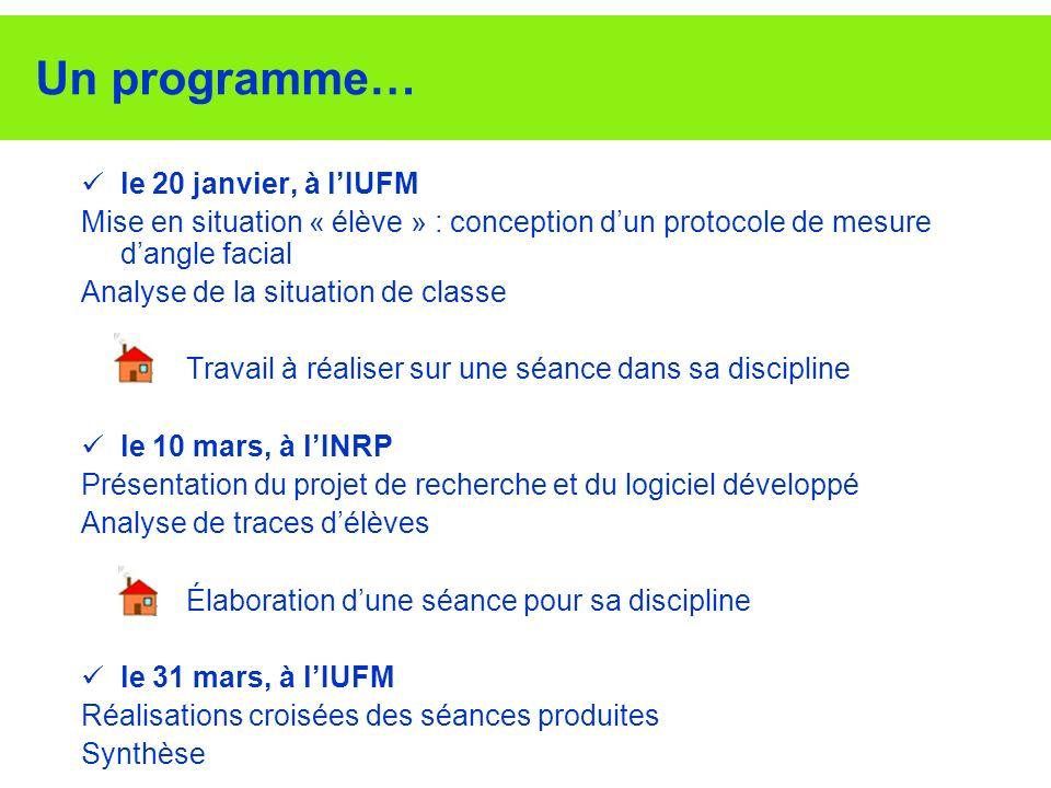 Un programme… le 20 janvier, à lIUFM Mise en situation « élève » : conception dun protocole de mesure dangle facial Analyse de la situation de classe