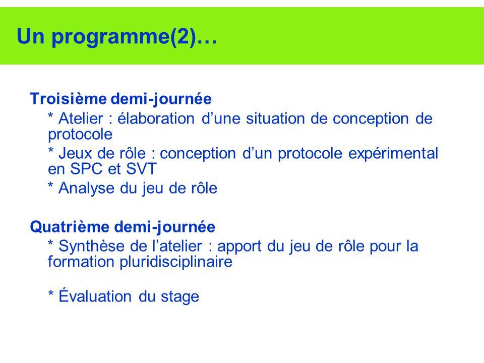 Un programme(2)… Troisième demi-journée * Atelier : élaboration dune situation de conception de protocole * Jeux de rôle : conception dun protocole ex