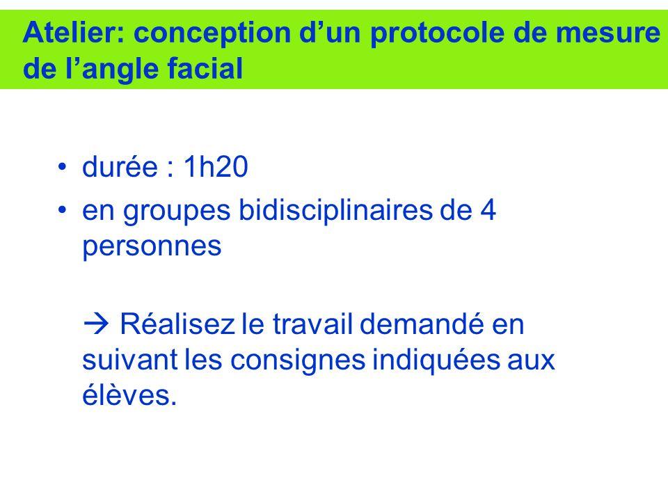 Atelier: conception dun protocole de mesure de langle facial durée : 1h20 en groupes bidisciplinaires de 4 personnes Réalisez le travail demandé en su