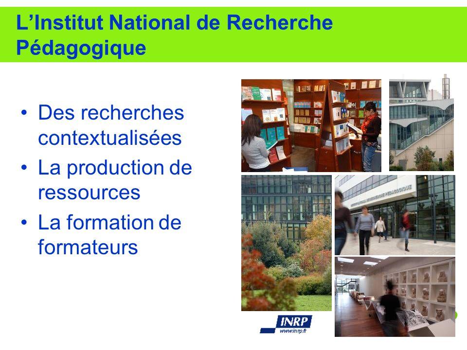 LInstitut National de Recherche Pédagogique Des recherches contextualisées La production de ressources La formation de formateurs