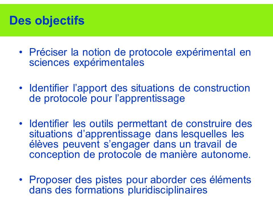 Le projet de recherche COPEX (LIG-INRP) Questions de recherche: - Caractérisation et modélisation d un protocole expérimental dans 4 disciplines expérimentales ; - Identification des guidages et aides dans une tâche de conception de protocole - Conception d un environnement informatique Résultats –Représentation du protocole sous forme dun arbre des tâches –Choix des tâches à confier aux élèves –Critères dévaluation des protocoles –Importance de la présence, dans la situation élaborée, déléments permettant aux élèves dévaluer leurs protocoles –Importance de lexplicitation du/des modèles scientifiques en jeu –Importance de la collaboration entre élèves