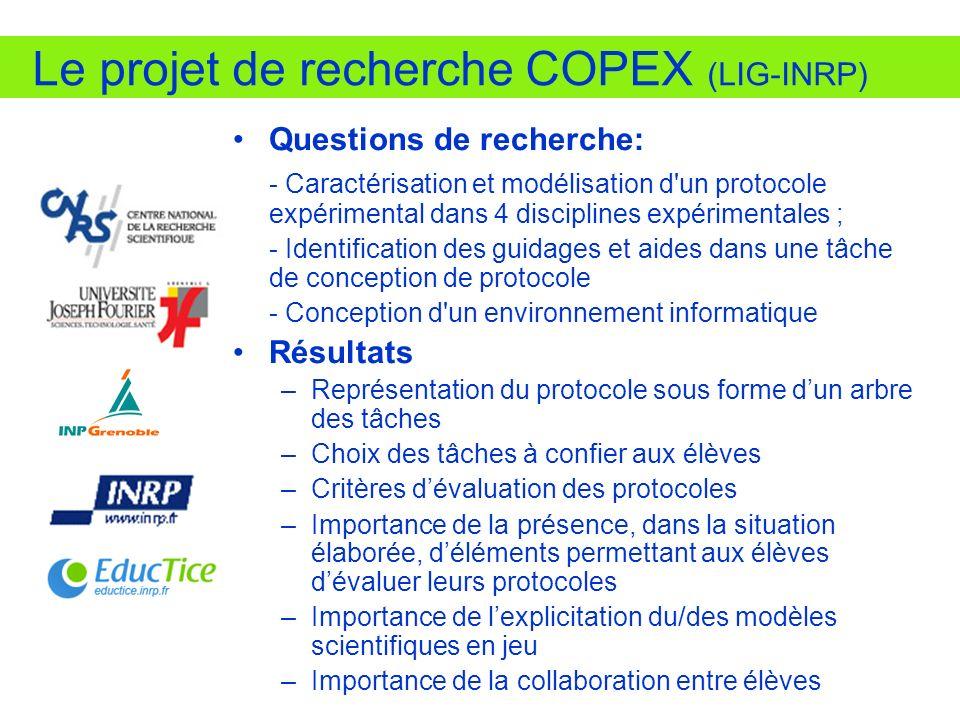 Le projet de recherche COPEX (LIG-INRP) Questions de recherche: - Caractérisation et modélisation d'un protocole expérimental dans 4 disciplines expér