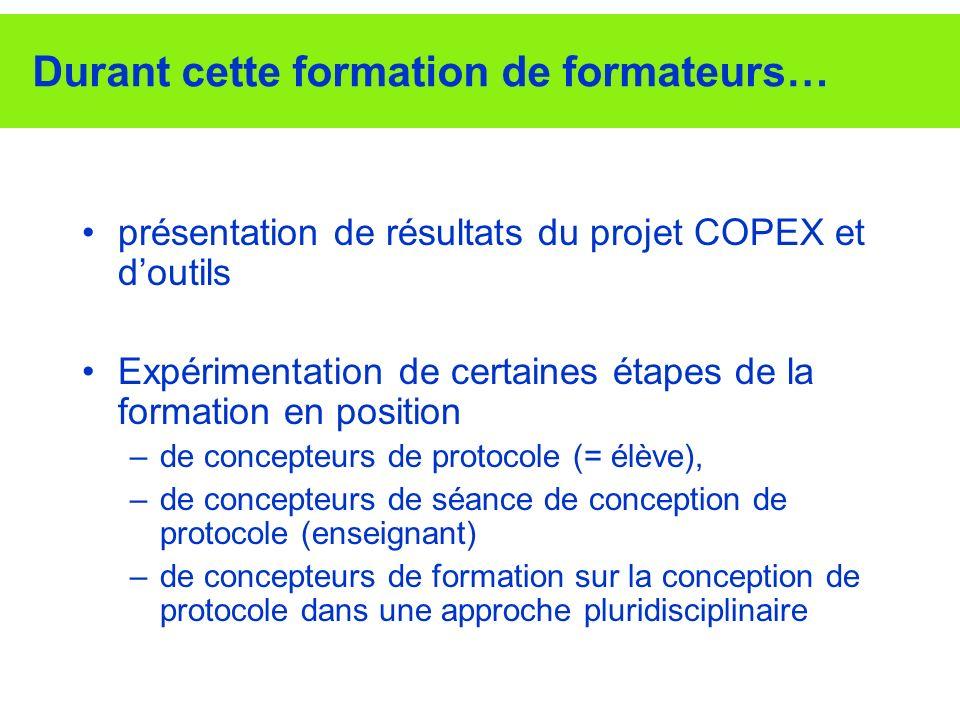 Durant cette formation de formateurs… présentation de résultats du projet COPEX et doutils Expérimentation de certaines étapes de la formation en posi
