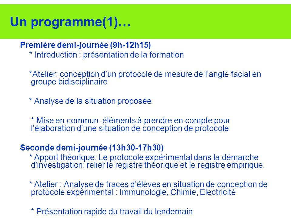 Un programme(1)… Première demi-journée (9h-12h15) * Introduction : présentation de la formation *Atelier: conception dun protocole de mesure de langle