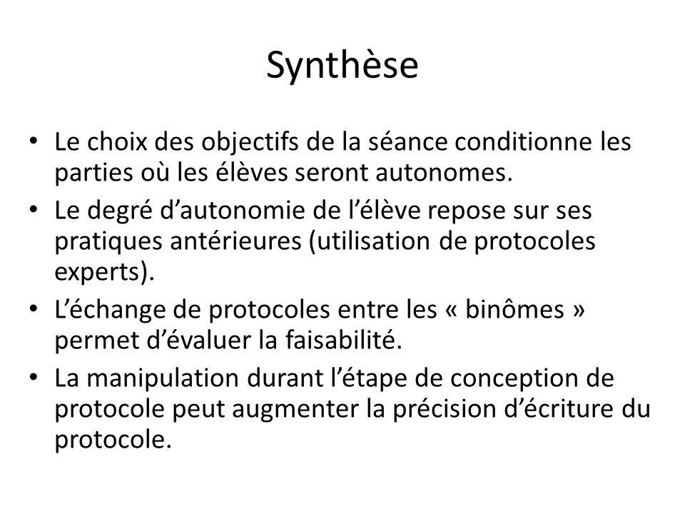 Synthèse Le choix des objectifs de la séance conditionne les parties où les élèves seront autonomes.