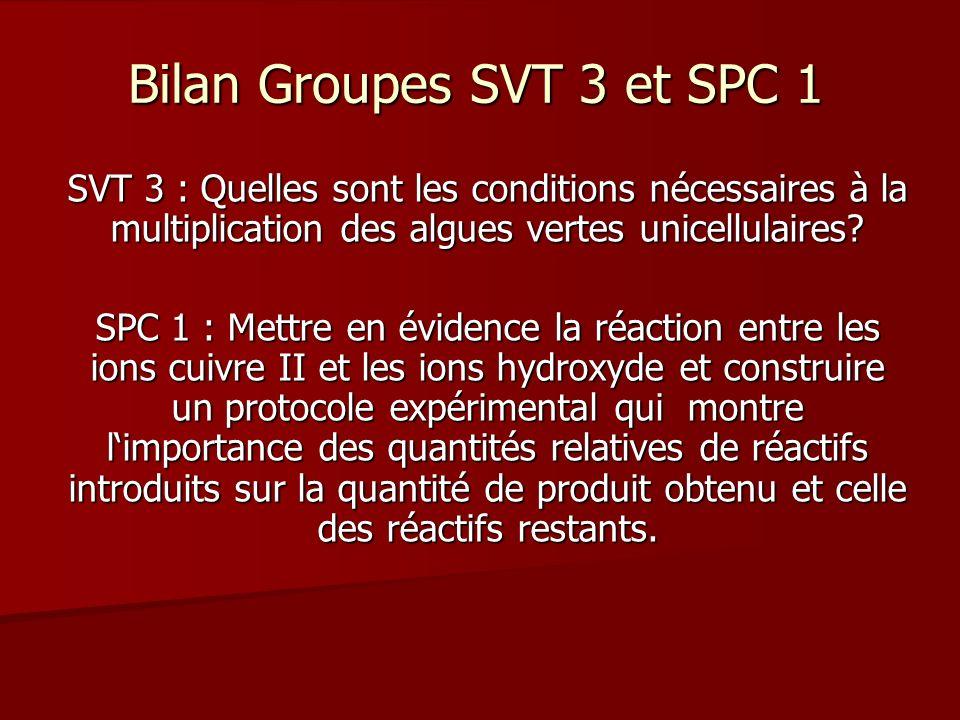 Bilan Groupes SVT 3 et SPC 1 SVT 3 : Quelles sont les conditions nécessaires à la multiplication des algues vertes unicellulaires.