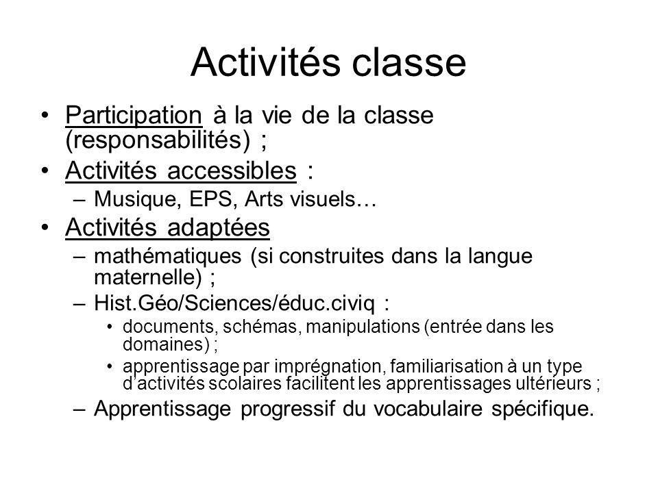 Activités classe Participation à la vie de la classe (responsabilités) ; Activités accessibles : –Musique, EPS, Arts visuels… Activités adaptées –math