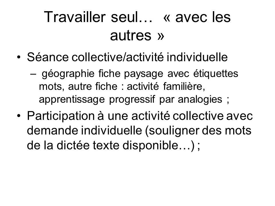 Travailler seul… « avec les autres » Séance collective/activité individuelle – géographie fiche paysage avec étiquettes mots, autre fiche : activité f