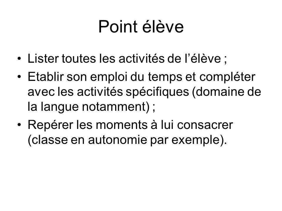 Point élève Lister toutes les activités de lélève ; Etablir son emploi du temps et compléter avec les activités spécifiques (domaine de la langue nota
