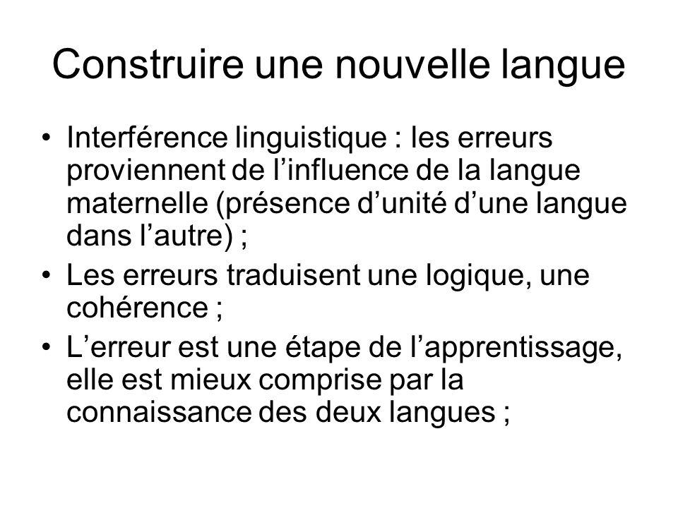 Construire une nouvelle langue Interférence linguistique : les erreurs proviennent de linfluence de la langue maternelle (présence dunité dune langue