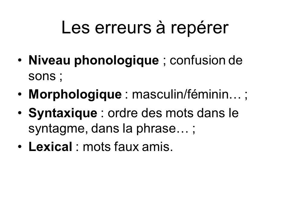 Les erreurs à repérer Niveau phonologique ; confusion de sons ; Morphologique : masculin/féminin… ; Syntaxique : ordre des mots dans le syntagme, dans