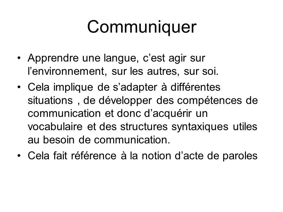 Communiquer Apprendre une langue, cest agir sur lenvironnement, sur les autres, sur soi. Cela implique de sadapter à différentes situations, de dévelo