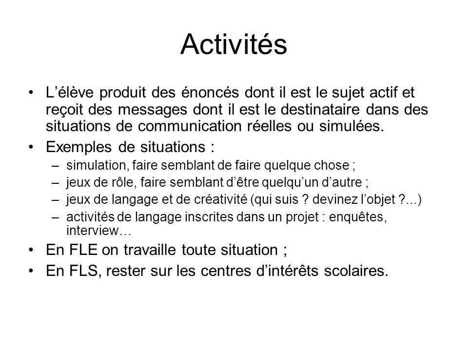 Activités Lélève produit des énoncés dont il est le sujet actif et reçoit des messages dont il est le destinataire dans des situations de communicatio