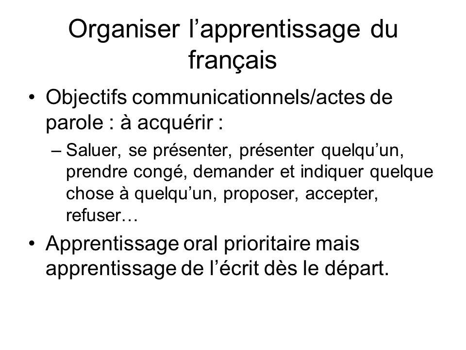 Organiser lapprentissage du français Objectifs communicationnels/actes de parole : à acquérir : –Saluer, se présenter, présenter quelquun, prendre con