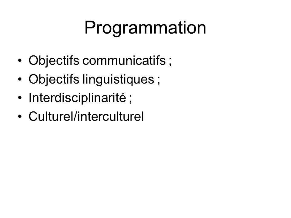 Programmation Objectifs communicatifs ; Objectifs linguistiques ; Interdisciplinarité ; Culturel/interculturel