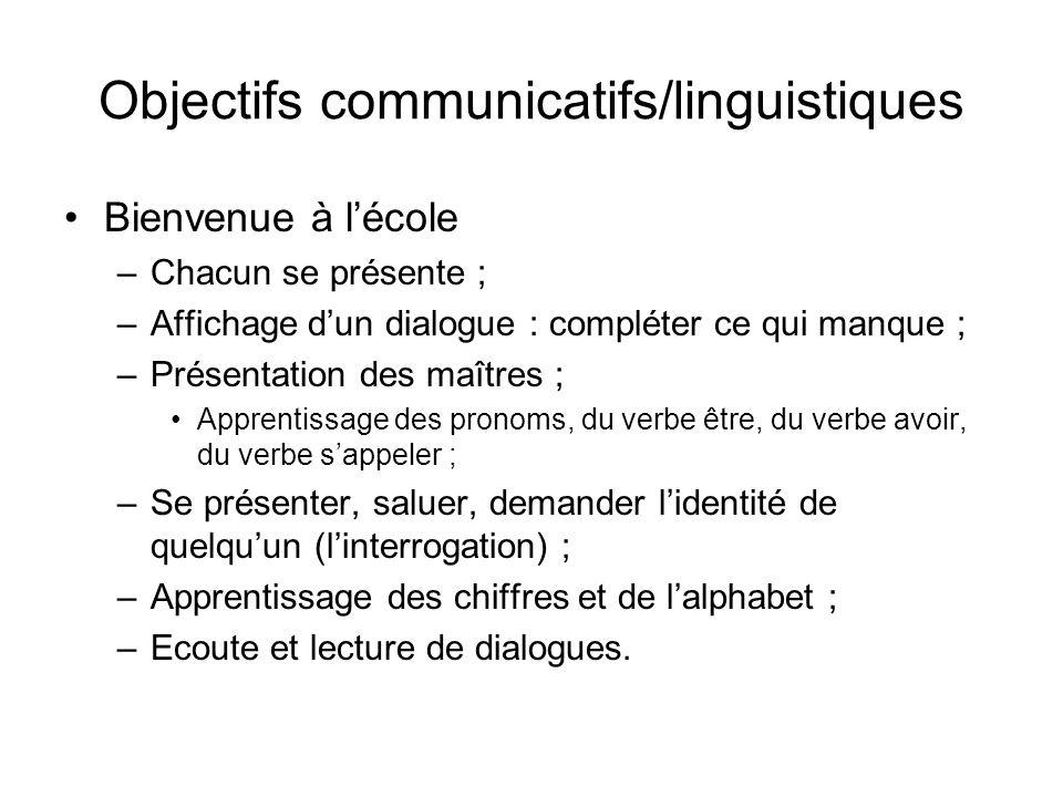Objectifs communicatifs/linguistiques Bienvenue à lécole –Chacun se présente ; –Affichage dun dialogue : compléter ce qui manque ; –Présentation des m