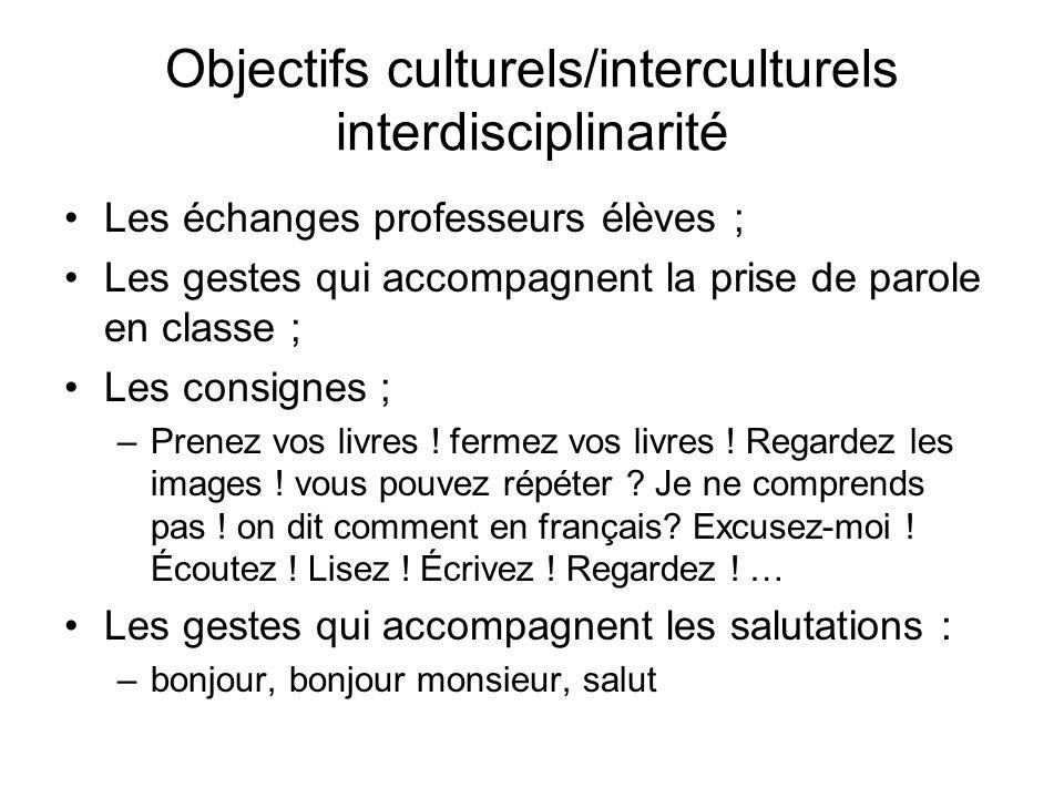 Objectifs culturels/interculturels interdisciplinarité Les échanges professeurs élèves ; Les gestes qui accompagnent la prise de parole en classe ; Le