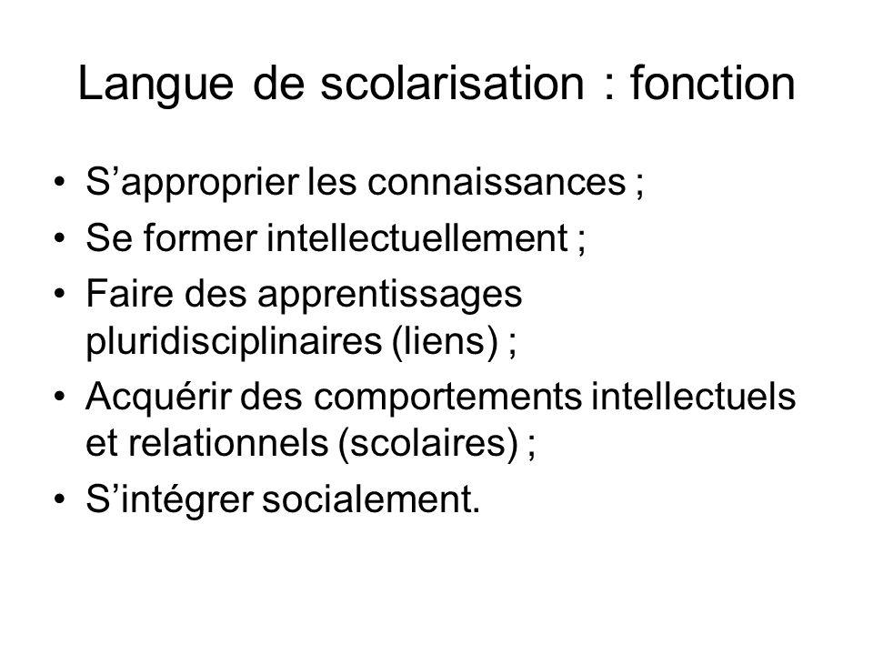 Langue de scolarisation : fonction Sapproprier les connaissances ; Se former intellectuellement ; Faire des apprentissages pluridisciplinaires (liens)