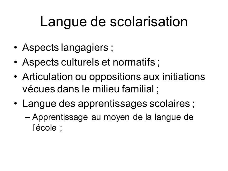 Langue de scolarisation Aspects langagiers ; Aspects culturels et normatifs ; Articulation ou oppositions aux initiations vécues dans le milieu famili