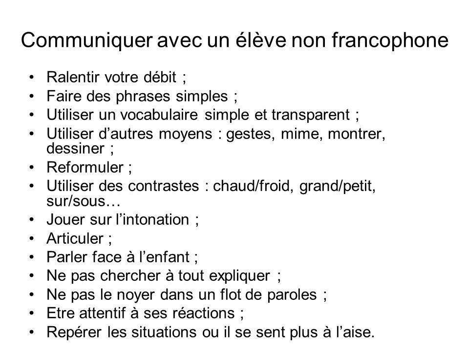 Communiquer avec un élève non francophone Ralentir votre débit ; Faire des phrases simples ; Utiliser un vocabulaire simple et transparent ; Utiliser