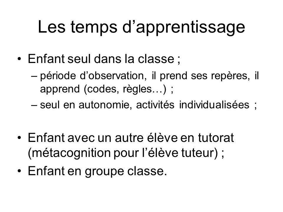 Les temps dapprentissage Enfant seul dans la classe ; –période dobservation, il prend ses repères, il apprend (codes, règles…) ; –seul en autonomie, a