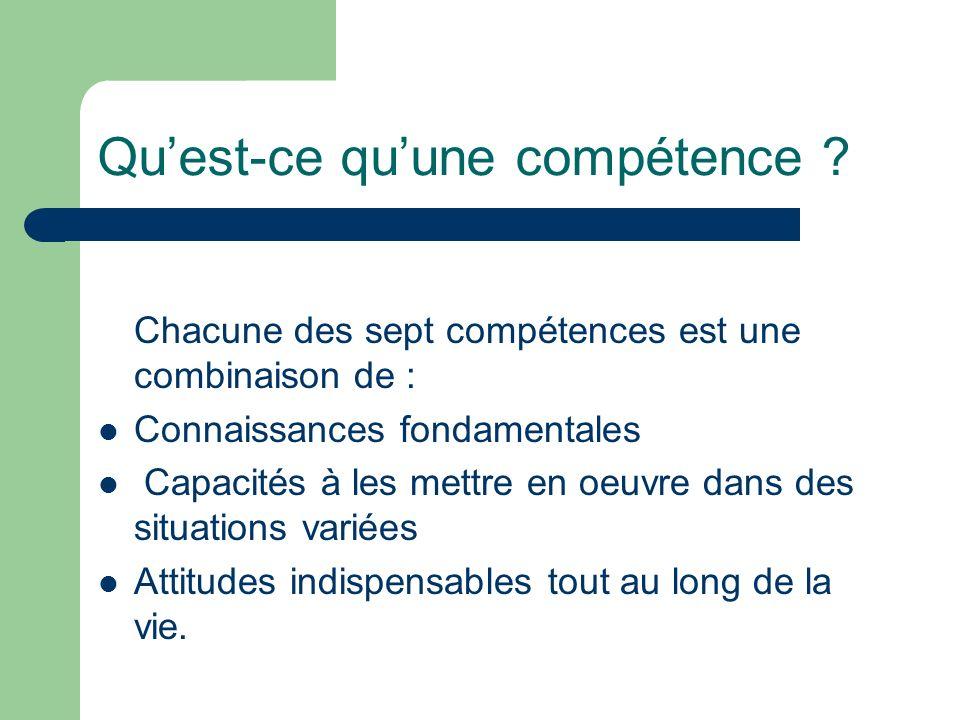 Quest-ce quune compétence ? Chacune des sept compétences est une combinaison de : Connaissances fondamentales Capacités à les mettre en oeuvre dans de