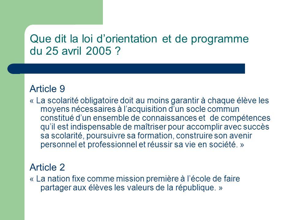Que dit la loi dorientation et de programme du 25 avril 2005 ? Article 9 « La scolarité obligatoire doit au moins garantir à chaque élève les moyens n