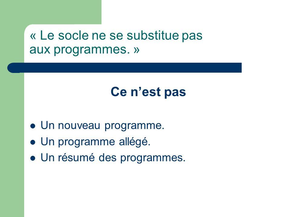 « Le socle ne se substitue pas aux programmes. » Ce nest pas Un nouveau programme. Un programme allégé. Un résumé des programmes.