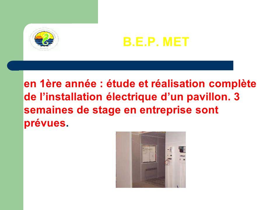 B.E.P. MET en 1ère année : étude et réalisation complète de linstallation électrique dun pavillon.