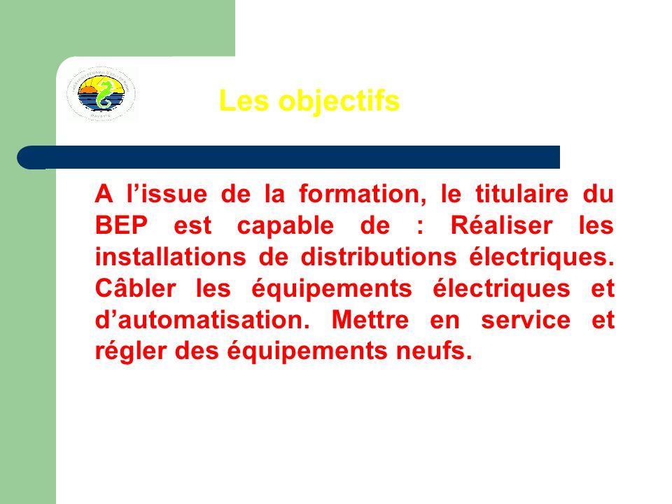Les objectifs A lissue de la formation, le titulaire du BEP est capable de : Réaliser les installations de distributions électriques.