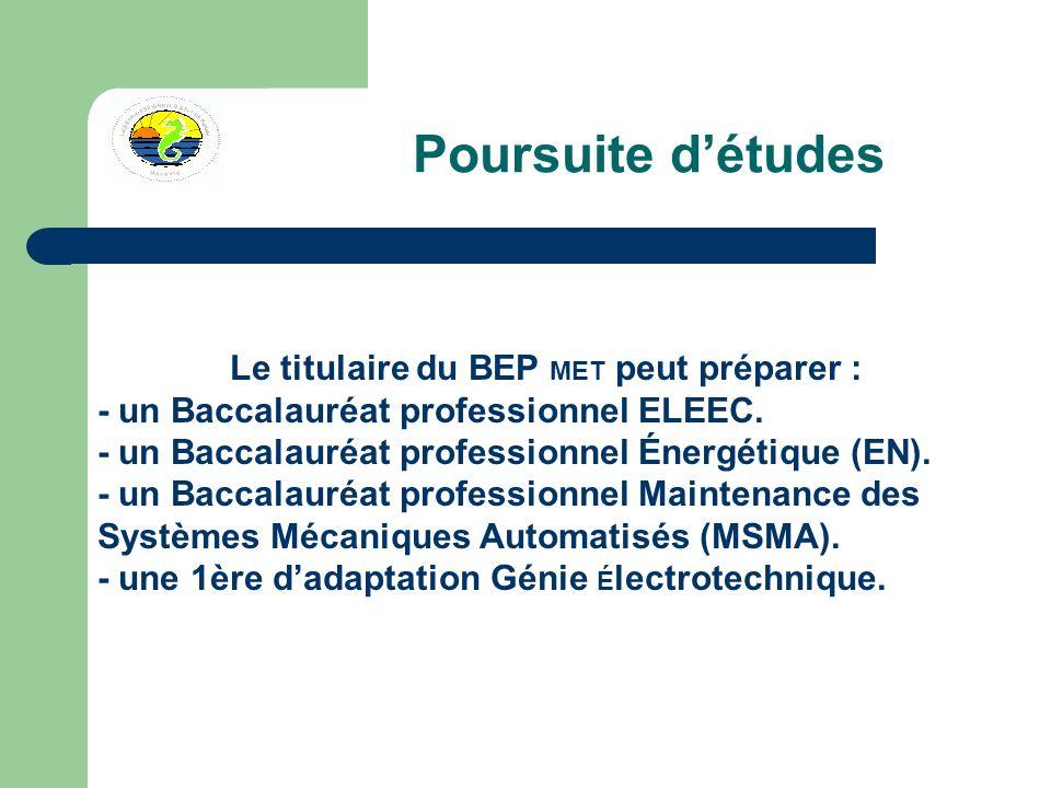 Poursuite détudes Le titulaire du BEP MET peut préparer : - un Baccalauréat professionnel ELEEC.