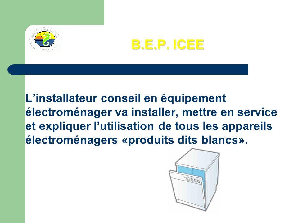 B.E.P. ICEE Linstallateur conseil en équipement électroménager va installer, mettre en service et expliquer lutilisation de tous les appareils électro