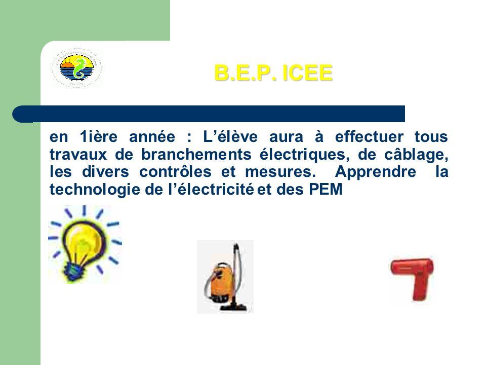 B.E.P. ICEE en 1ière année : Lélève aura à effectuer tous travaux de branchements électriques, de câblage, les divers contrôles et mesures. Apprendre