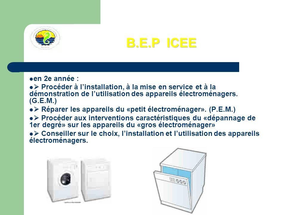 B.E.P ICEE en 2e année : Procéder à linstallation, à la mise en service et à la démonstration de lutilisation des appareils électroménagers. (G.E.M.)