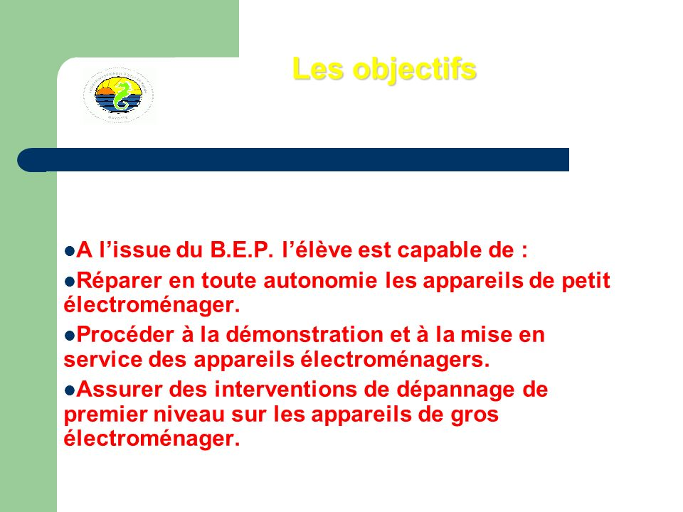 Les objectifs A lissue du B.E.P. lélève est capable de : Réparer en toute autonomie les appareils de petit électroménager. Procéder à la démonstration