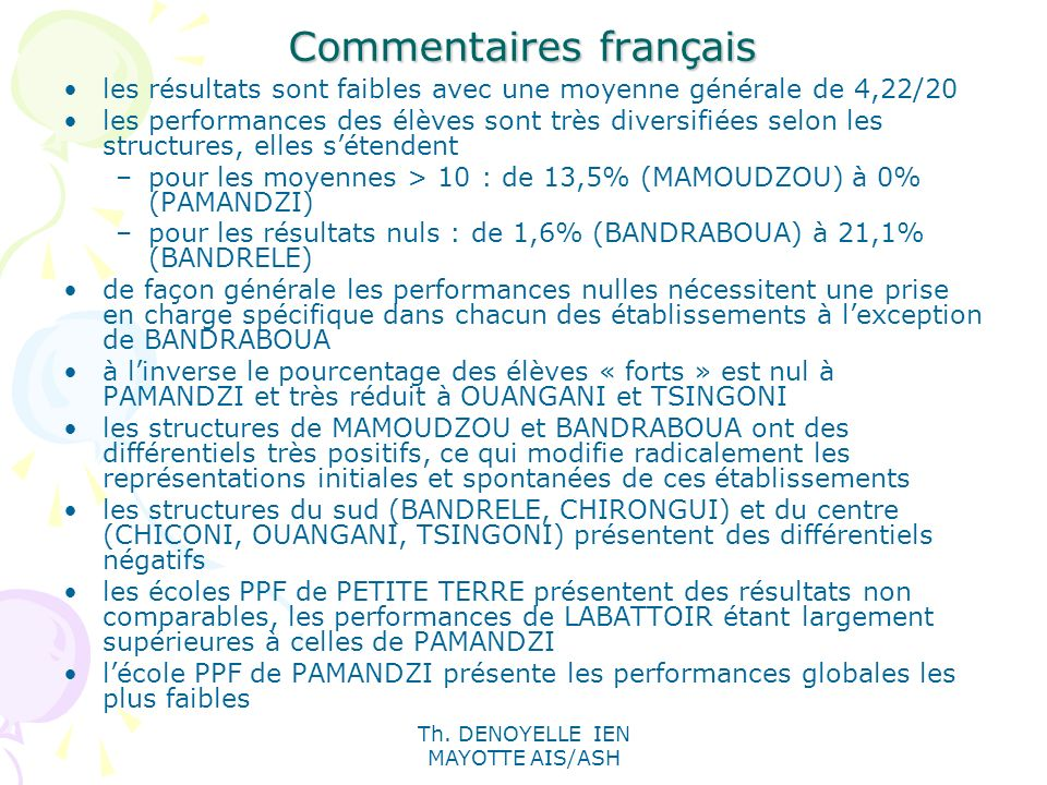 Th. DENOYELLE IEN MAYOTTE AIS/ASH Commentaires français les résultats sont faibles avec une moyenne générale de 4,22/20 les performances des élèves so