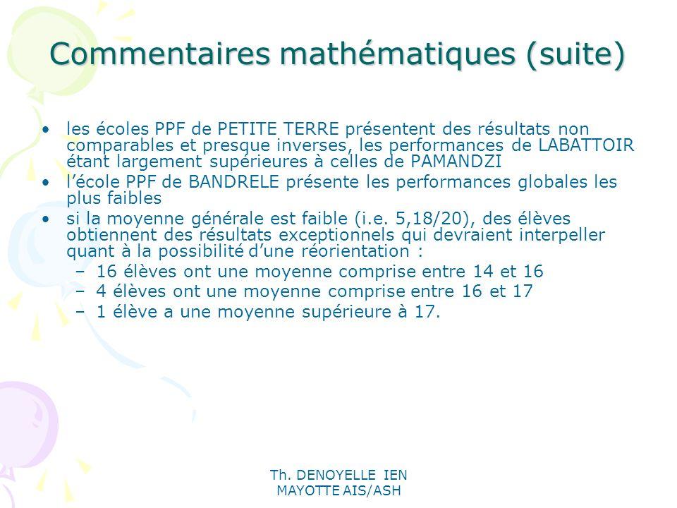 Th. DENOYELLE IEN MAYOTTE AIS/ASH Commentaires mathématiques (suite) les écoles PPF de PETITE TERRE présentent des résultats non comparables et presqu