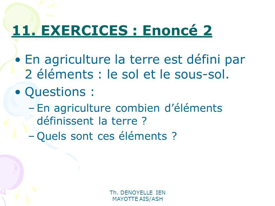 Th. DENOYELLE IEN MAYOTTE AIS/ASH En agriculture la terre est défini par 2 éléments : le sol et le sous-sol. Questions : –En agriculture combien délém