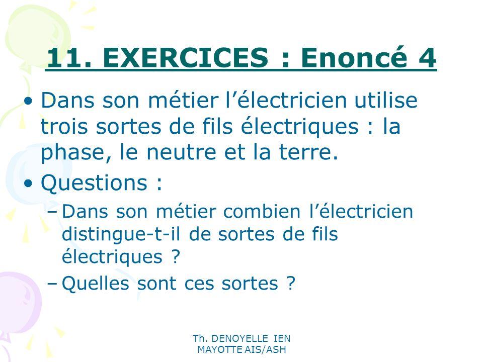Th. DENOYELLE IEN MAYOTTE AIS/ASH 11. EXERCICES : Enoncé 4 Dans son métier lélectricien utilise trois sortes de fils électriques : la phase, le neutre