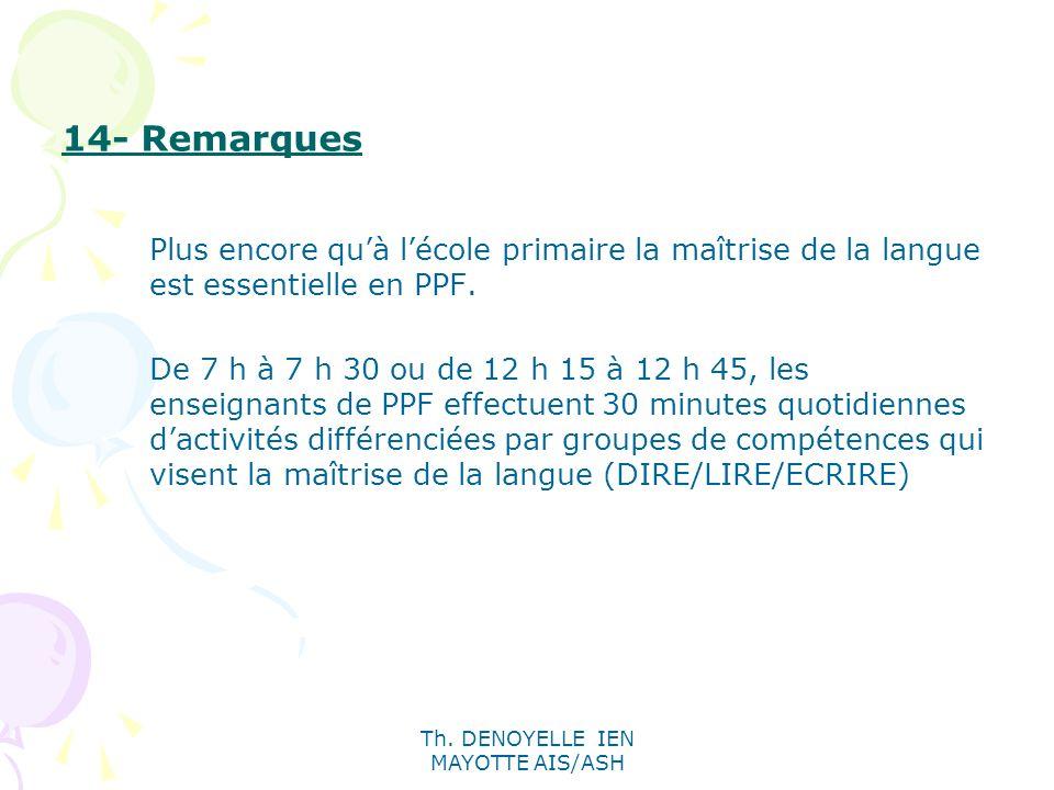 Th. DENOYELLE IEN MAYOTTE AIS/ASH 14- Remarques Plus encore quà lécole primaire la maîtrise de la langue est essentielle en PPF. De 7 h à 7 h 30 ou de