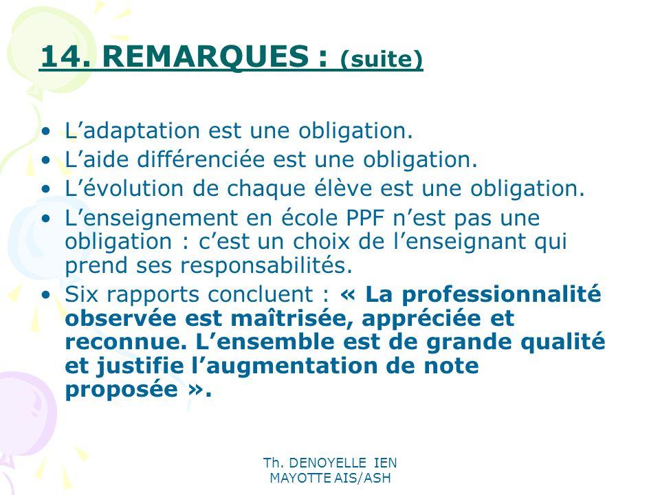 Th. DENOYELLE IEN MAYOTTE AIS/ASH 14. REMARQUES : (suite) Ladaptation est une obligation. Laide différenciée est une obligation. Lévolution de chaque