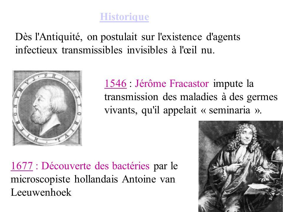 Historique Dès l Antiquité, on postulait sur l existence d agents infectieux transmissibles invisibles à l œil nu.