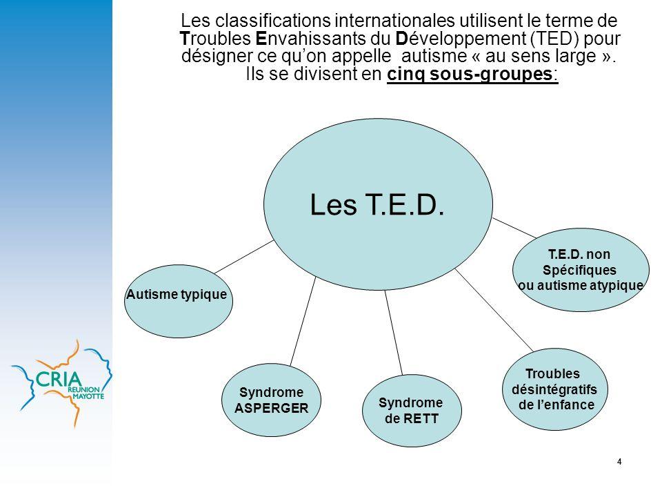 4 Les classifications internationales utilisent le terme de Troubles Envahissants du Développement (TED) pour désigner ce quon appelle autisme « au se