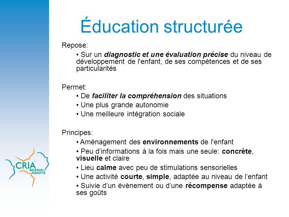 Éducation structurée Repose: Sur un diagnostic et une évaluation précise du niveau de développement de l'enfant, de ses compétences et de ses particul