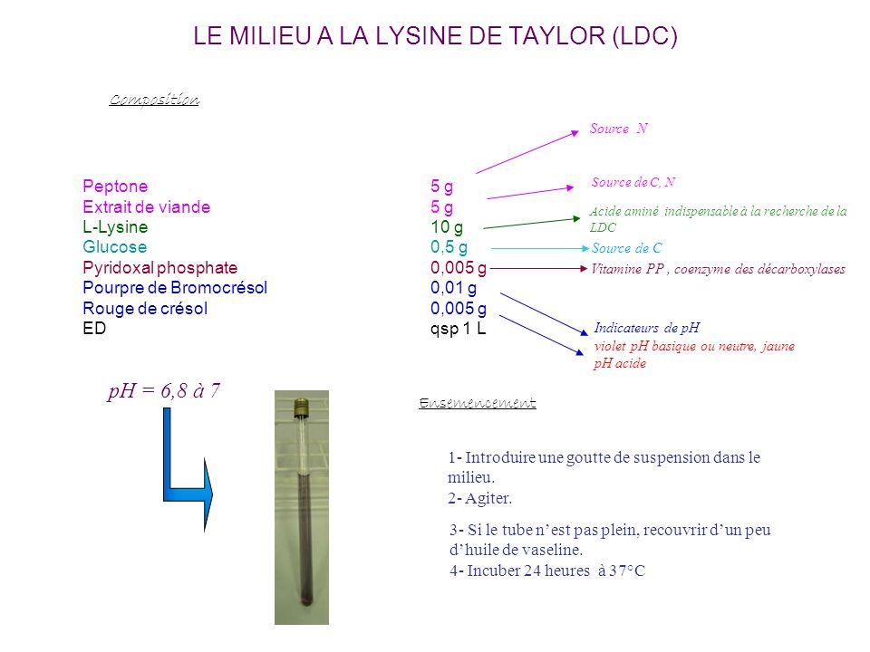 LE MILIEU A LA LYSINE DE TAYLOR (LDC) Peptone5 g Extrait de viande5 g L-Lysine10 g Glucose0,5 g Pyridoxal phosphate0,005 g Pourpre de Bromocrésol0,01 g Rouge de crésol0,005 g EDqsp 1 L Composition Source N Source de C Indicateurs de pH violet pH basique ou neutre, jaune pH acide pH = 6,8 à 7 Source de C, N Vitamine PP, coenzyme des décarboxylases Acide aminé indispensable à la recherche de la LDC Ensemencement 1- Introduire une goutte de suspension dans le milieu.