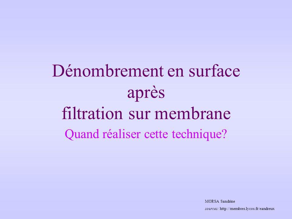 Dénombrement en surface après filtration sur membrane Quand réaliser cette technique.