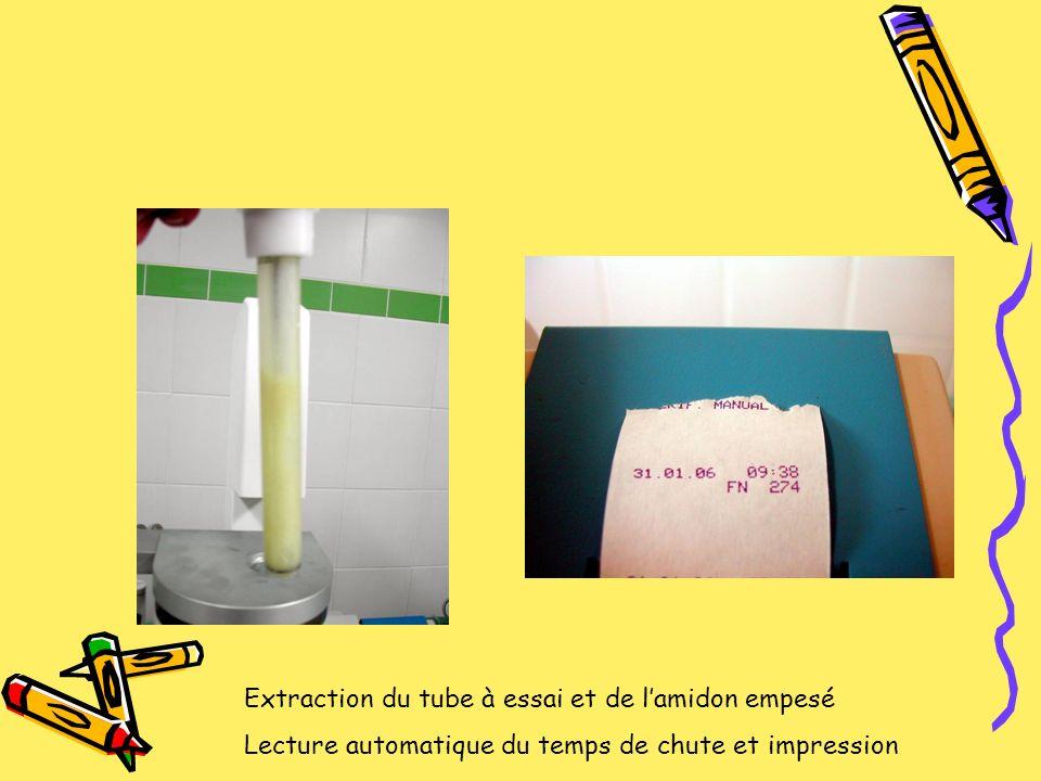 Extraction du tube à essai et de lamidon empesé Lecture automatique du temps de chute et impression