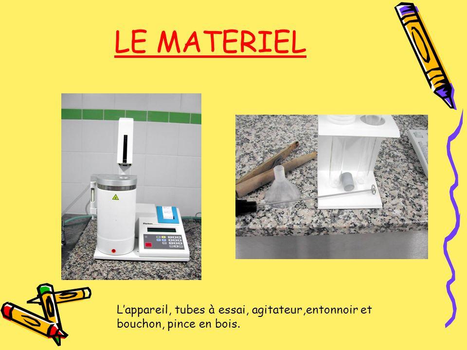 LE MATERIEL Lappareil, tubes à essai, agitateur,entonnoir et bouchon, pince en bois.